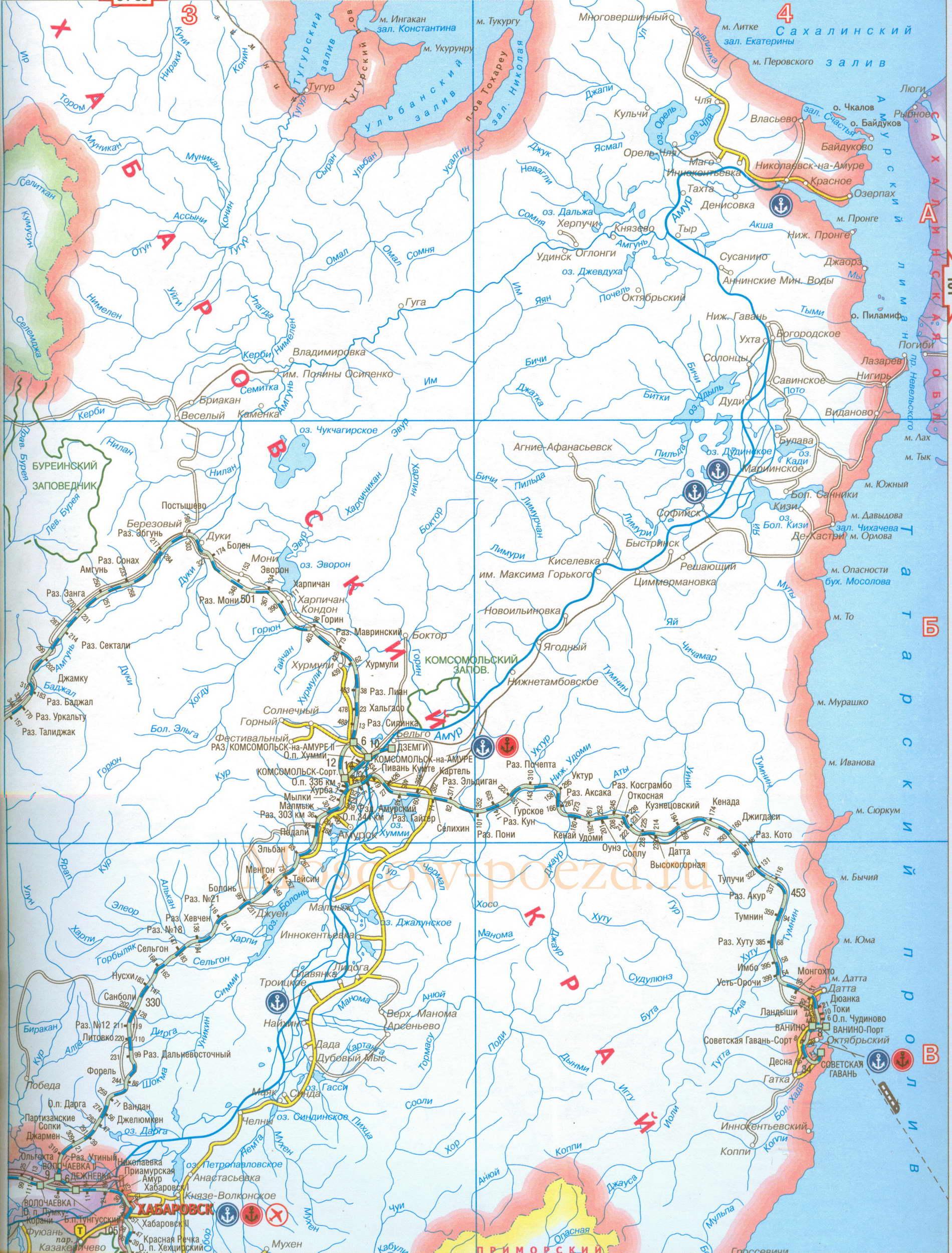 Карта железных и автомобильных дорог Хабаровского края.
