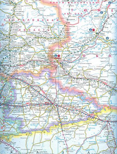 Карта Курганской области.