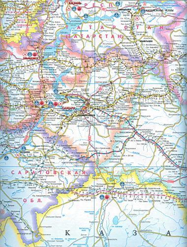 Карта автодорог самарской