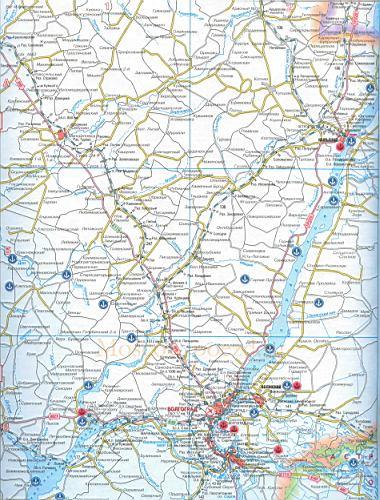 Карта железных и авто дорог Волгоградской обл, масштаб 1см=10км.