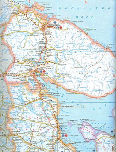 Карта Карелии и Мурманской