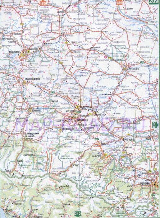 Карта Ставропольского Края Подробная Со Всеми Городами И Селами