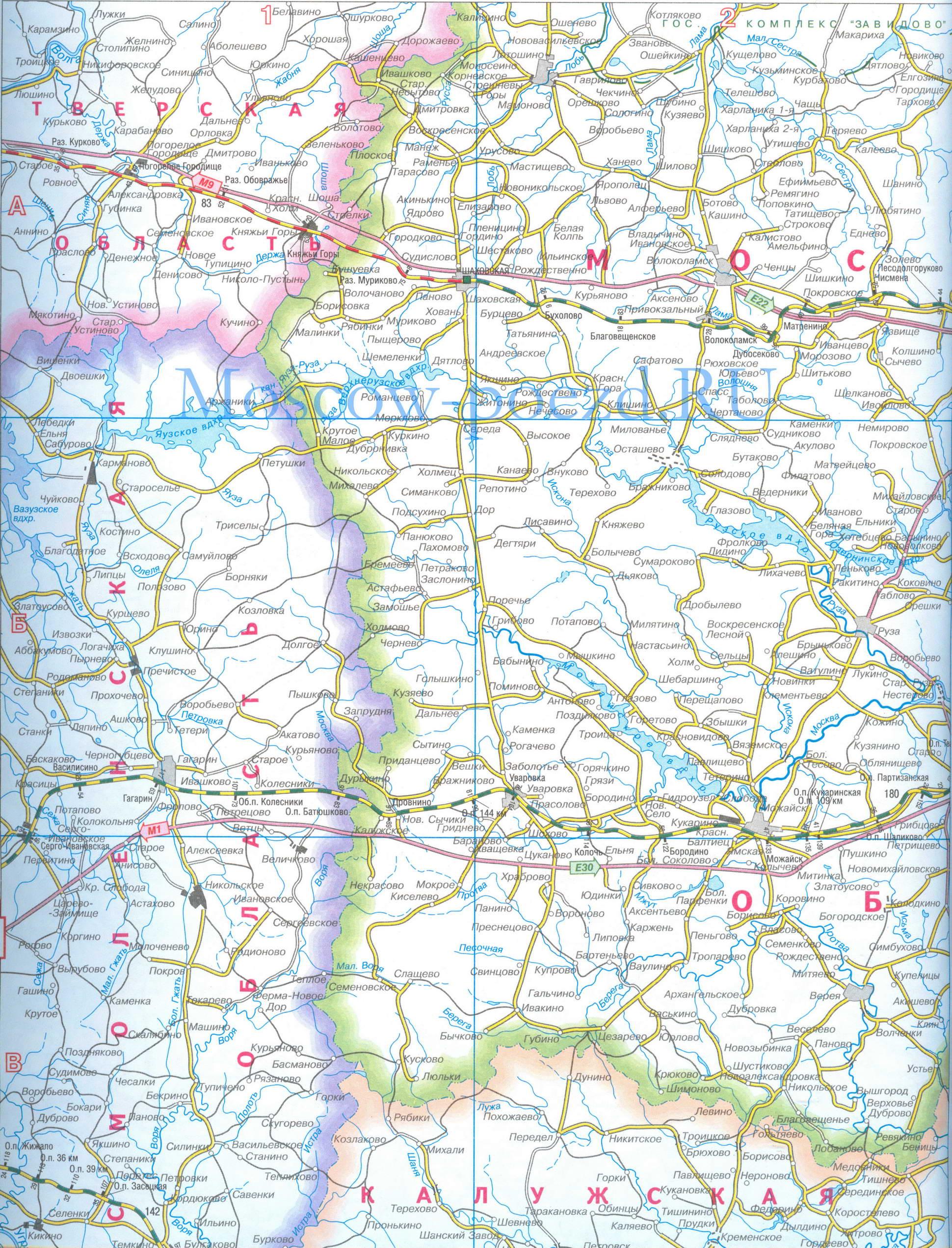 Карта Московской и Октябрьской железных дорог.