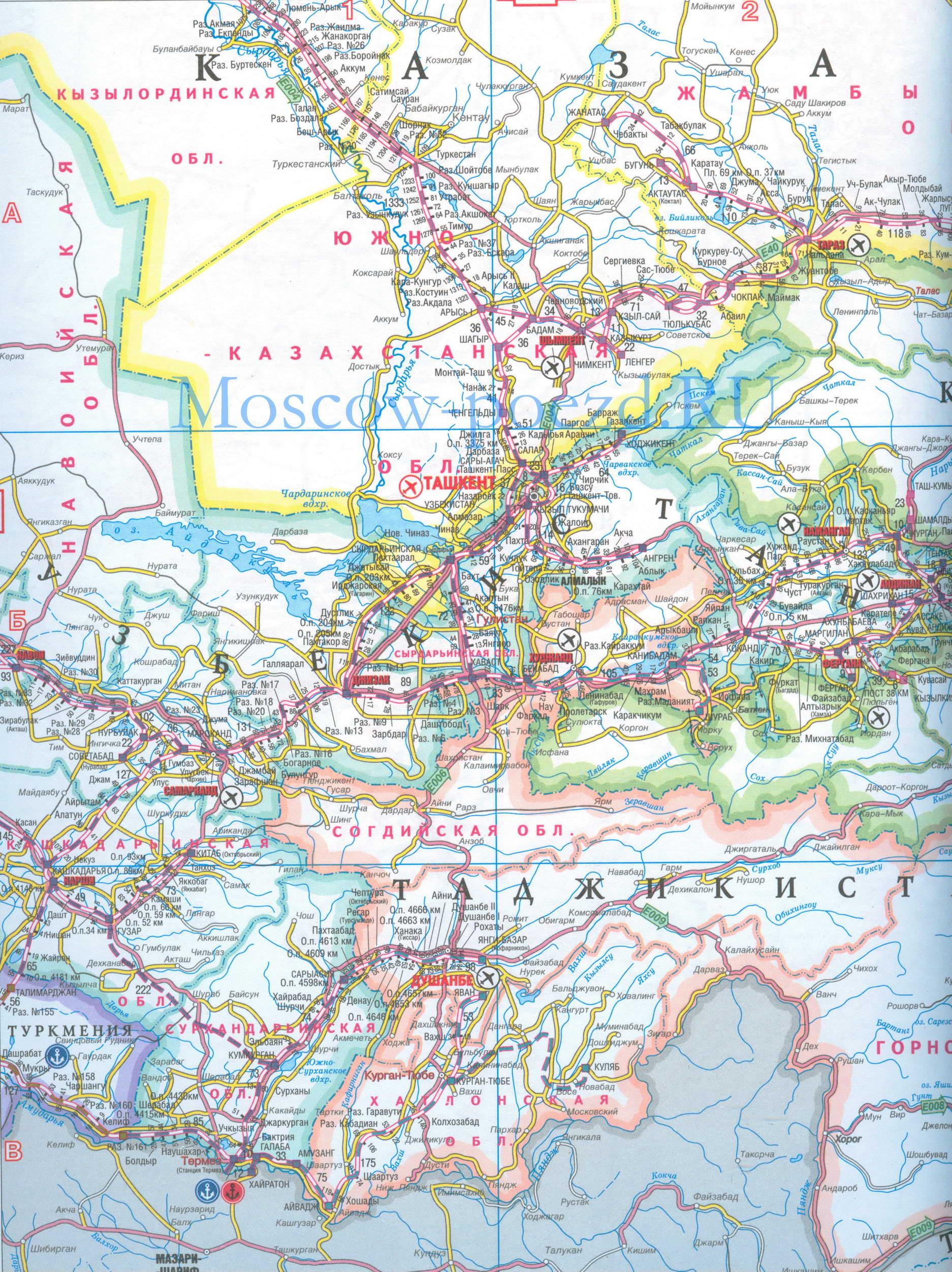 карта шосссейных дорог киргизии участке