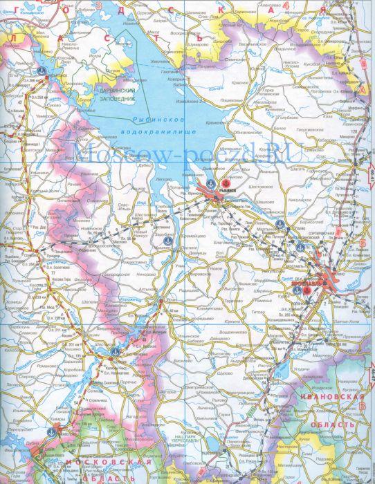Карта Ярославской области с городами на спутниковой