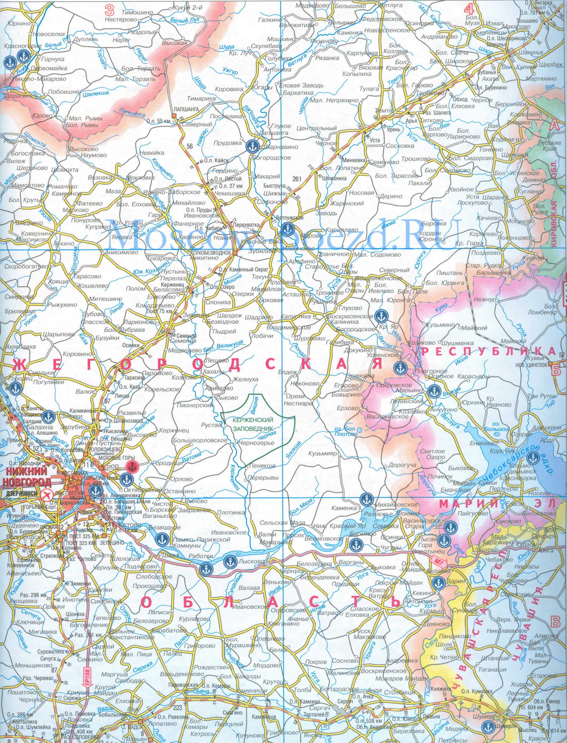 Карта нижегородской обл карта