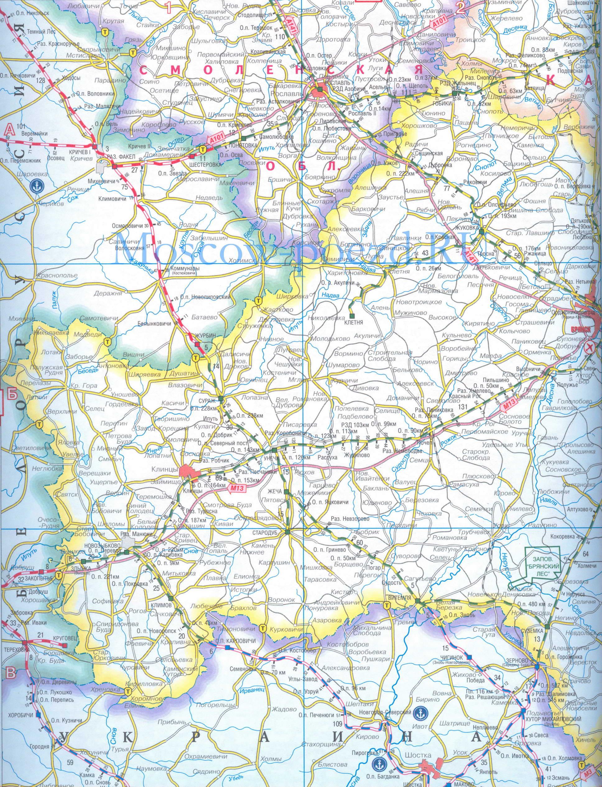 Автомобильные и железные дороги Брянской области.  Брянская область - подробная карта железных и автомобильных дорог...