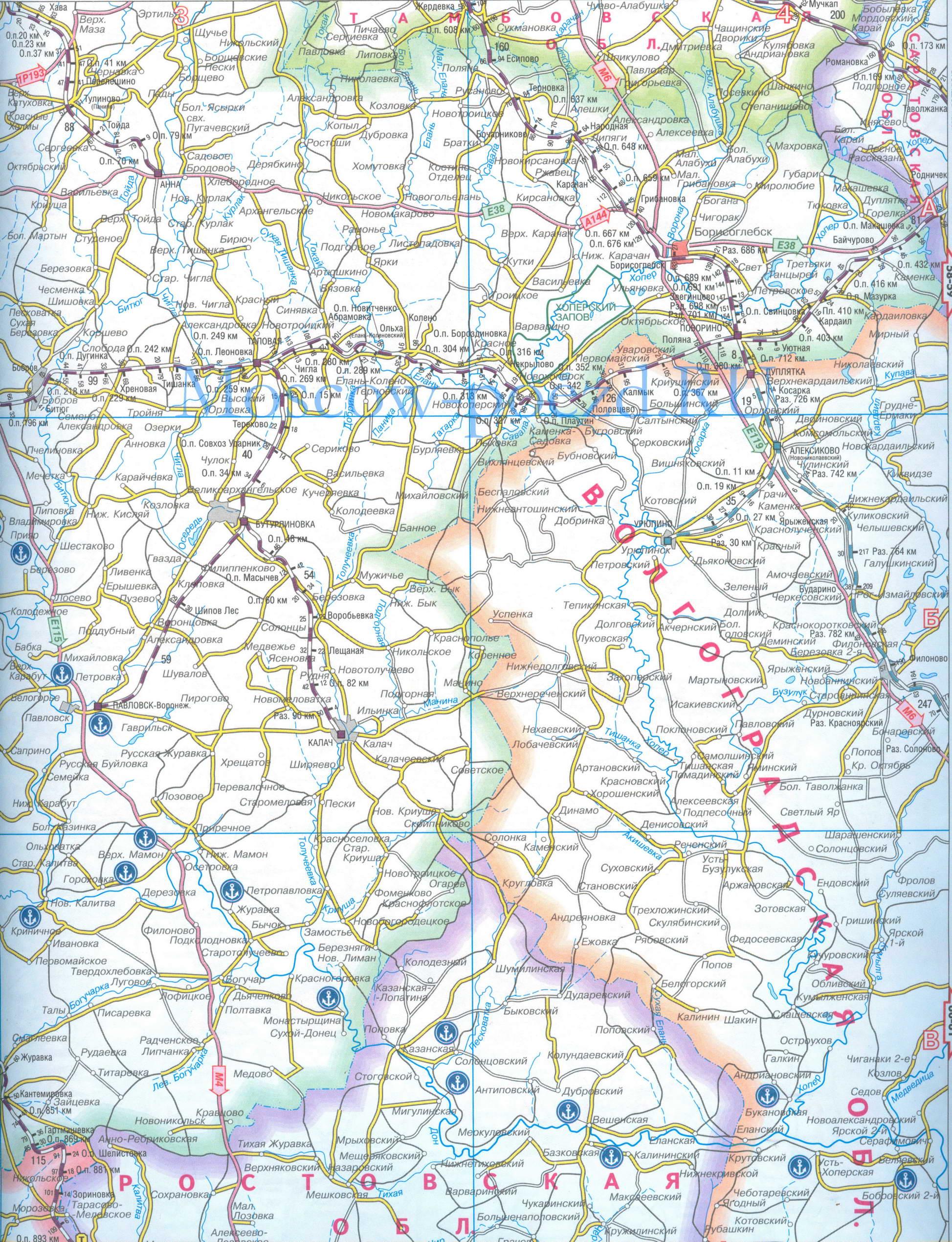 Карта железных и автодорог Воронежской обл, масштаб 1см=10км.