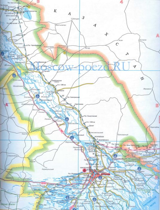 Карта железных дорог и автодорог Астраханской области России, масштаб карты 1см = 10км.