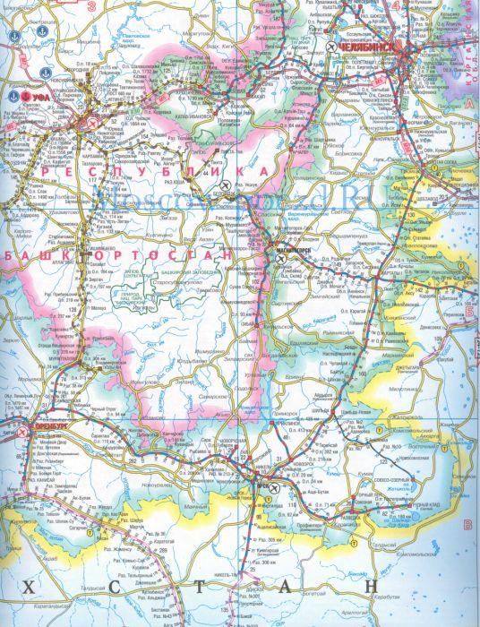 Карта Южно-Уральской железной