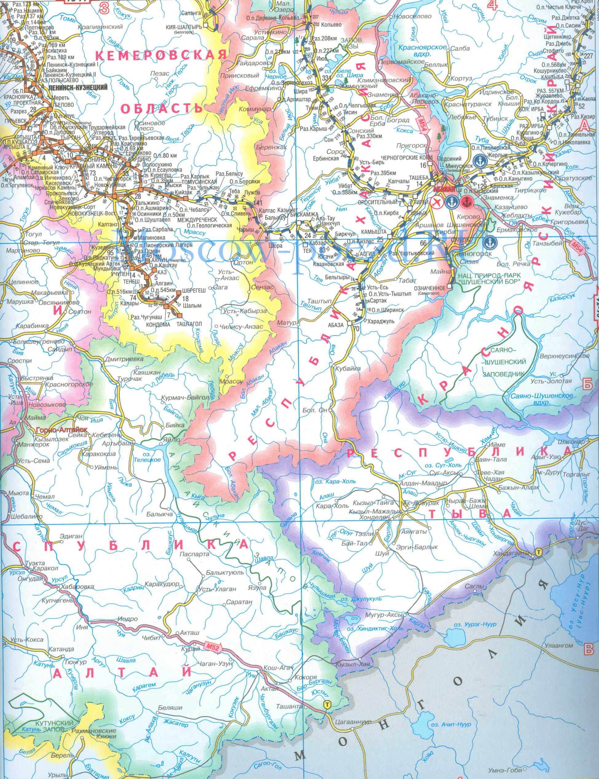 Алтайский край - подробная карта жд и автомобильных дорог 1см:25км.