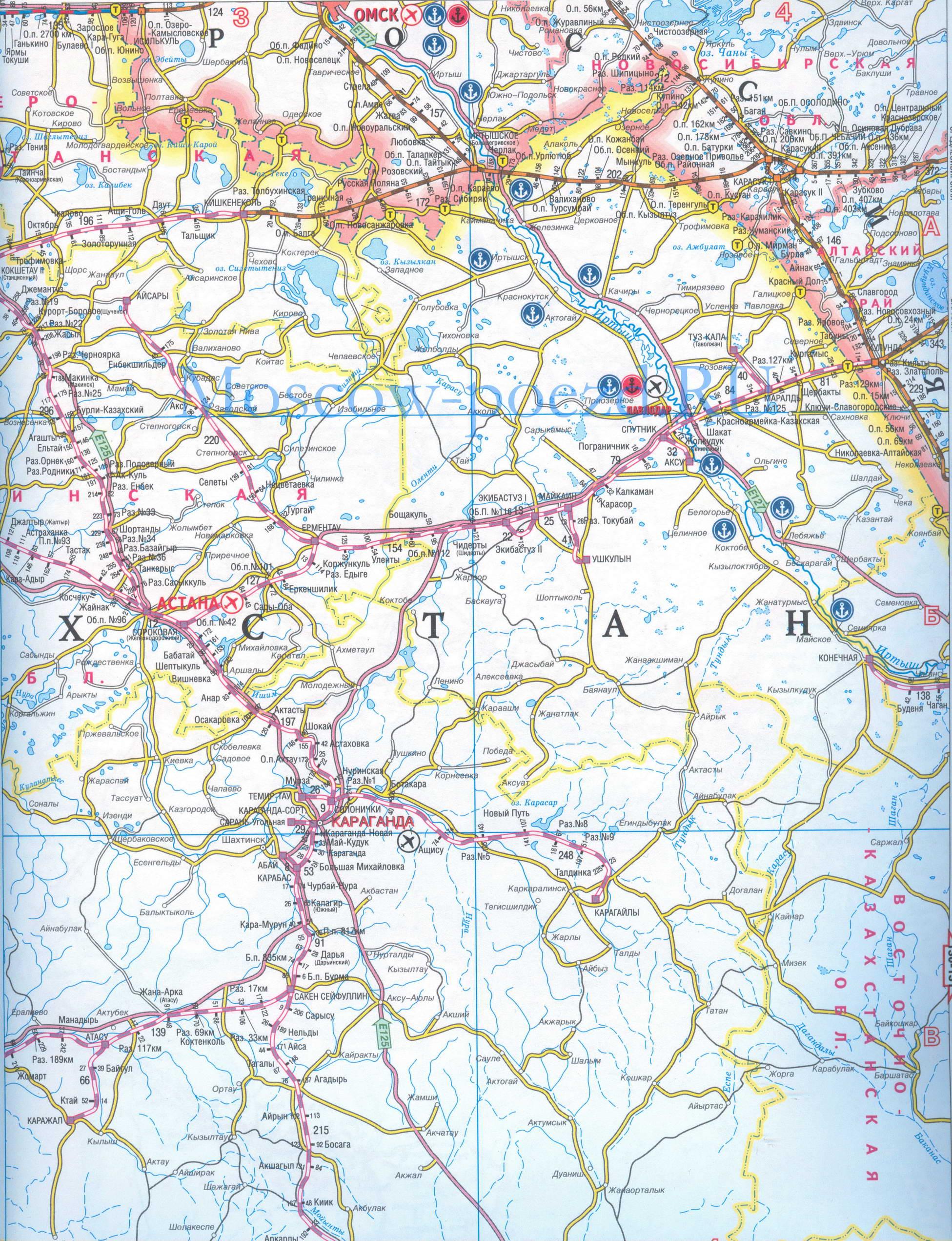 Карта железных и автомобильных дорог Казахстана.