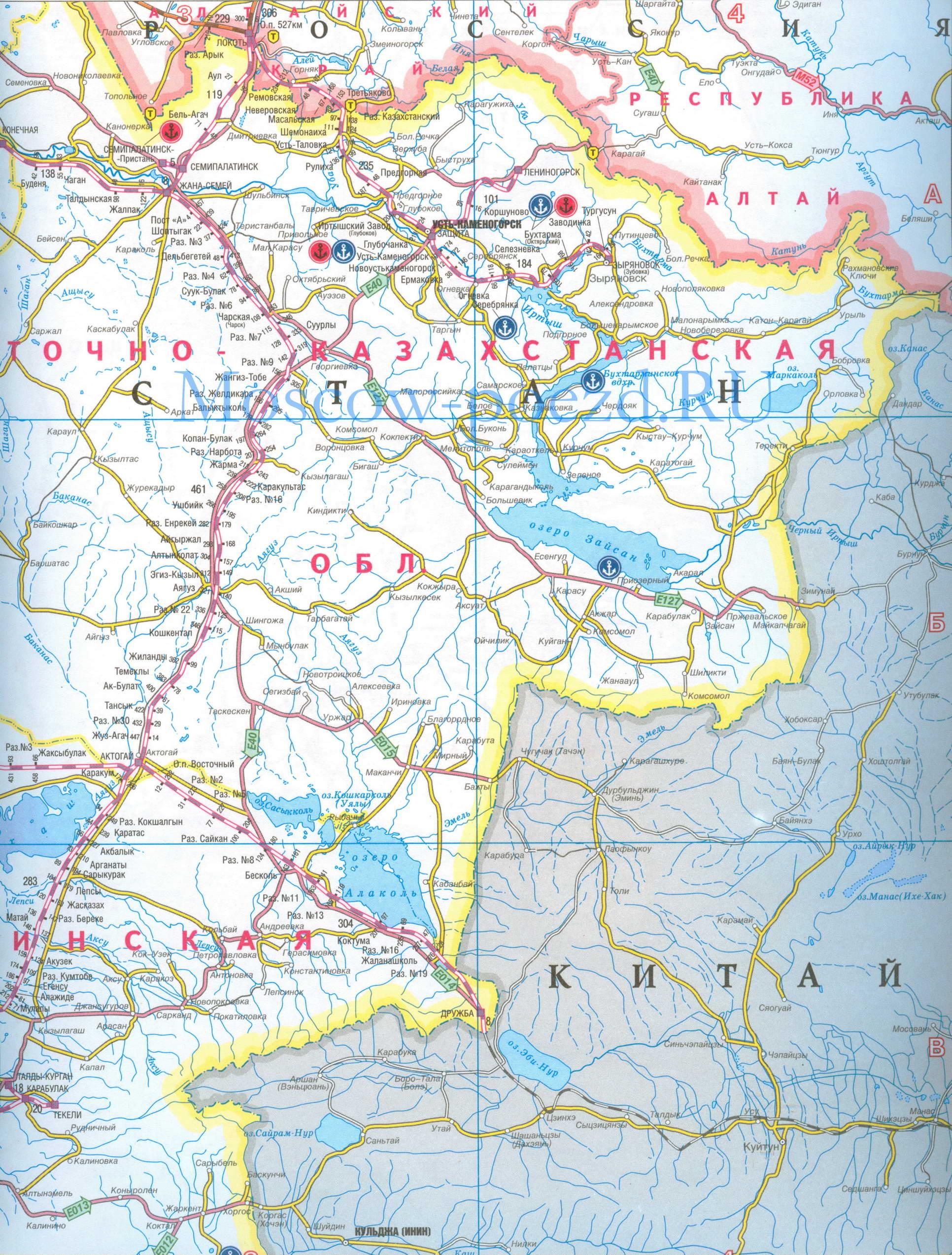 Карта Казахстана. Карта железных дорог Восточного ...: http://moscow-poezd.ru/map460381_0_0.htm